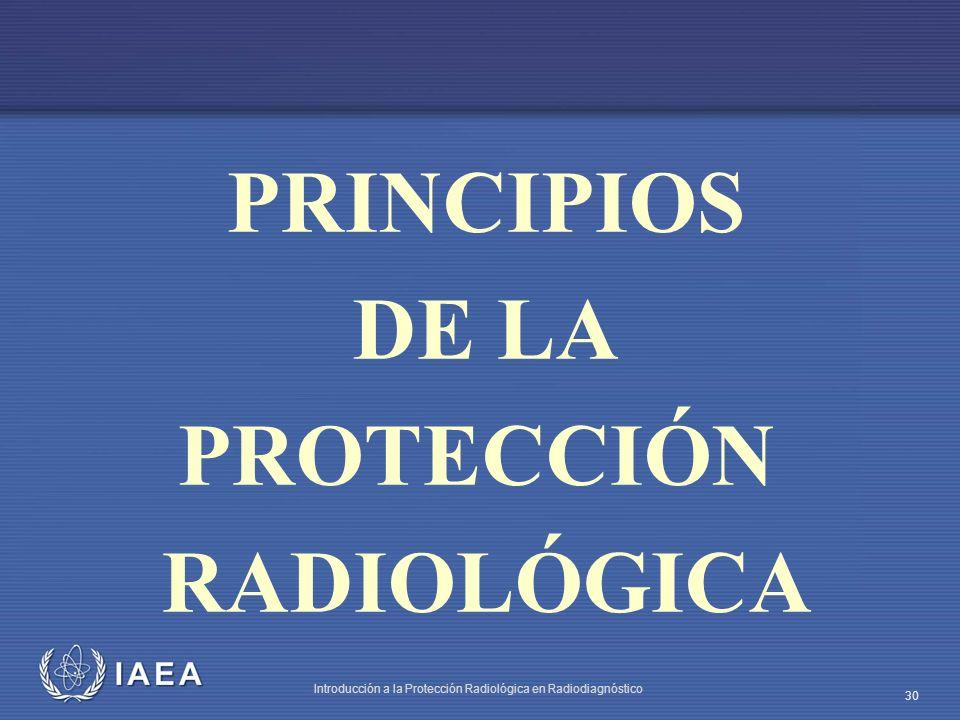 IAEA Introducción a la Protección Radiológica en Radiodiagnóstico 30 PRINCIPIOS DE LA PROTECCIÓN RADIOLÓGICA