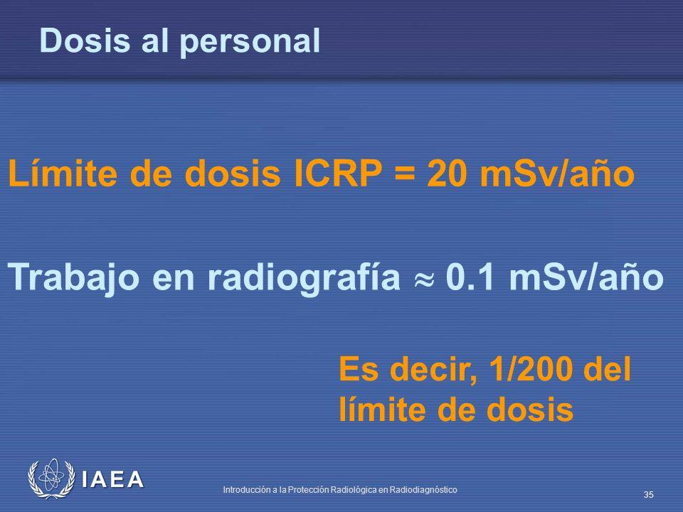 IAEA Introducción a la Protección Radiológica en Radiodiagnóstico 35 Dosis al personal Límite de dosis ICRP = 20 mSv/año Trabajo en radiografía 0.1 mSv/año Es decir, 1/200 del límite de dosis