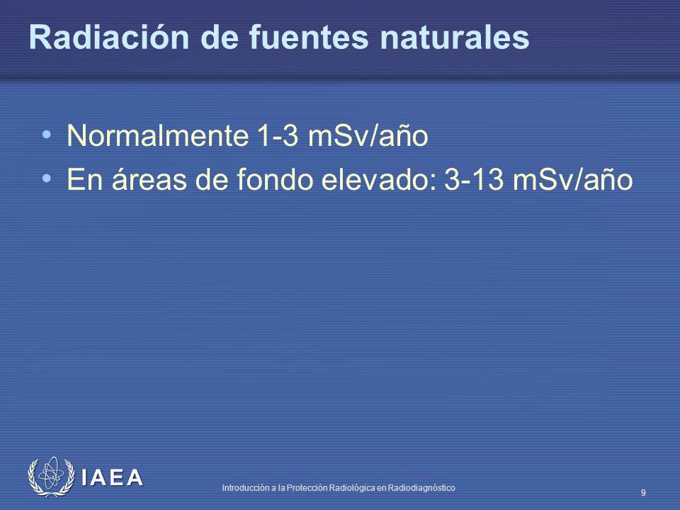 IAEA Introducción a la Protección Radiológica en Radiodiagnóstico 9 Radiación de fuentes naturales Normalmente 1-3 mSv/año En áreas de fondo elevado: 3-13 mSv/año