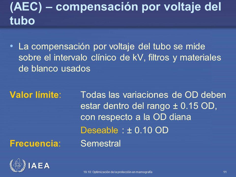 IAEA 19.10: Optimización de la protección en mamografía 11 (AEC) – compensación por voltaje del tubo La compensación por voltaje del tubo se mide sobre el intervalo clínico de kV, filtros y materiales de blanco usados Valor límite:Todas las variaciones de OD deben estar dentro del rango ± 0.15 OD, con respecto a la OD diana Deseable : ± 0.10 OD Frecuencia:Semestral