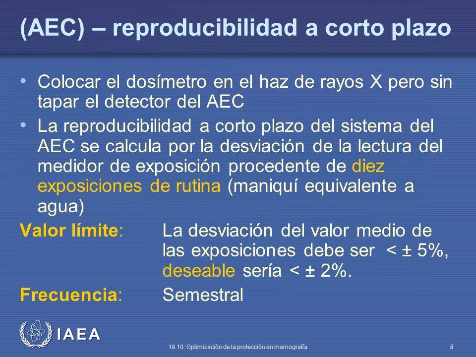 IAEA 19.10: Optimización de la protección en mamografía 8 (AEC) – reproducibilidad a corto plazo Colocar el dosímetro en el haz de rayos X pero sin tapar el detector del AEC La reproducibilidad a corto plazo del sistema del AEC se calcula por la desviación de la lectura del medidor de exposición procedente de diez exposiciones de rutina (maniquí equivalente a agua) Valor límite:La desviación del valor medio de las exposiciones debe ser < ± 5%, deseable sería < ± 2%.