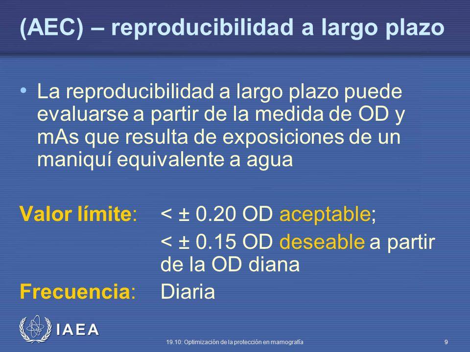 IAEA 19.10: Optimización de la protección en mamografía 9 (AEC) – reproducibilidad a largo plazo La reproducibilidad a largo plazo puede evaluarse a partir de la medida de OD y mAs que resulta de exposiciones de un maniquí equivalente a agua Valor límite:< ± 0.20 OD aceptable; < ± 0.15 OD deseable a partir de la OD diana Frecuencia:Diaria