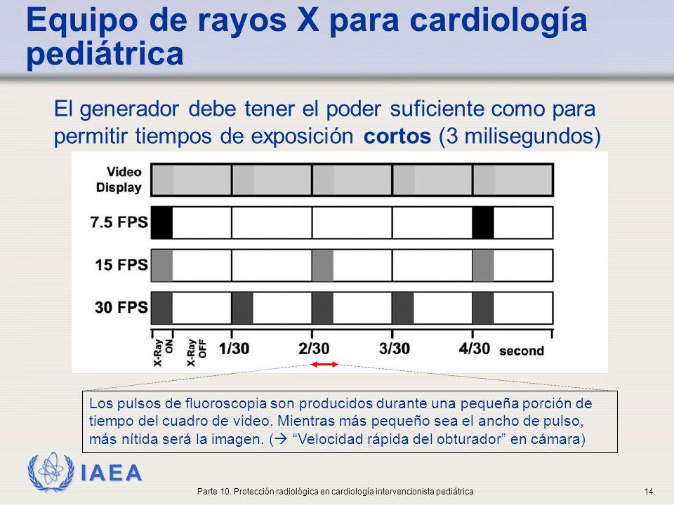 IAEA Equipo de rayos X para cardiología pediátrica El generador debe ser de alta frecuencia (para que pueda producir fluoroscopia pulsada) para mejorar la precisión y la reproducibilidad de las exposiciones.