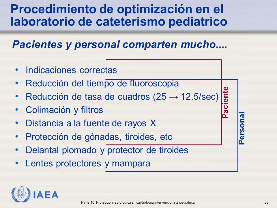 IAEA ICRP-ISR mensaje smart para pediatría Blindaje apropiado Identificación adecuada de las imágenes Área de colimación apropiada Restricción del movimiento del niño Parámetros técnicos apropiados Parte 10.