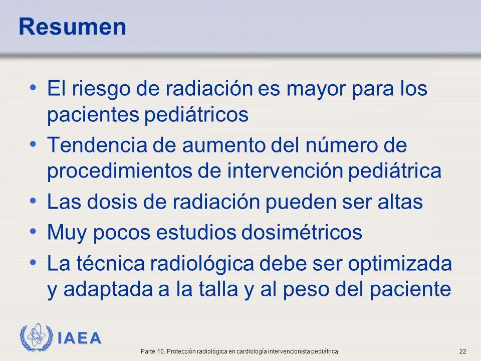 IAEA Resumen El riesgo de radiación es mayor para los pacientes pediátricos Tendencia de aumento del número de procedimientos de intervención pediátri
