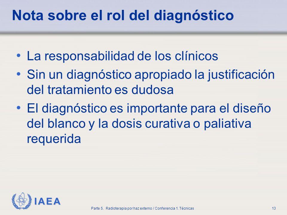 IAEA Parte 5. Radioterapia por haz externo / Conferencia 1. Técnicas13 Nota sobre el rol del diagnóstico La responsabilidad de los clínicos Sin un dia