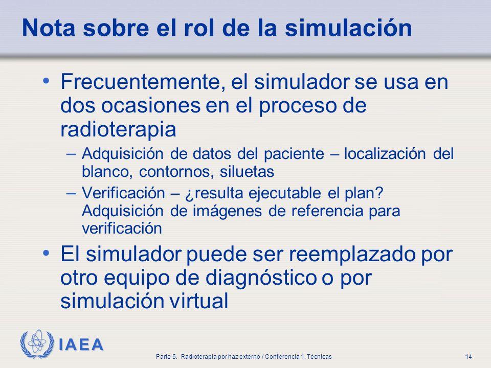 IAEA Parte 5. Radioterapia por haz externo / Conferencia 1. Técnicas14 Nota sobre el rol de la simulación Frecuentemente, el simulador se usa en dos o
