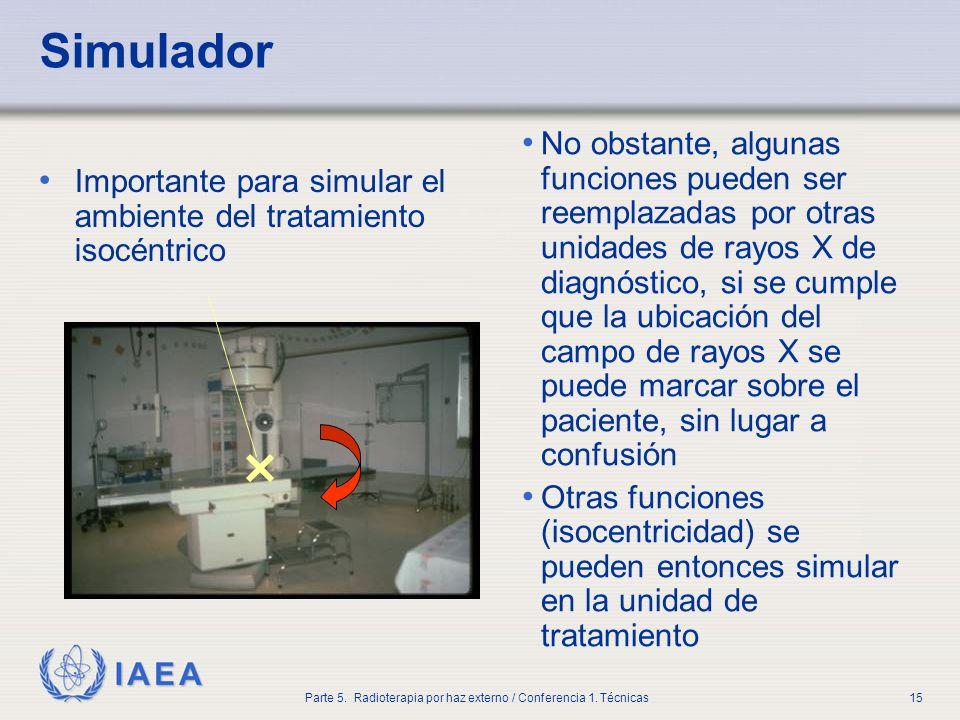 IAEA Parte 5. Radioterapia por haz externo / Conferencia 1. Técnicas15 Simulador Importante para simular el ambiente del tratamiento isocéntrico No ob