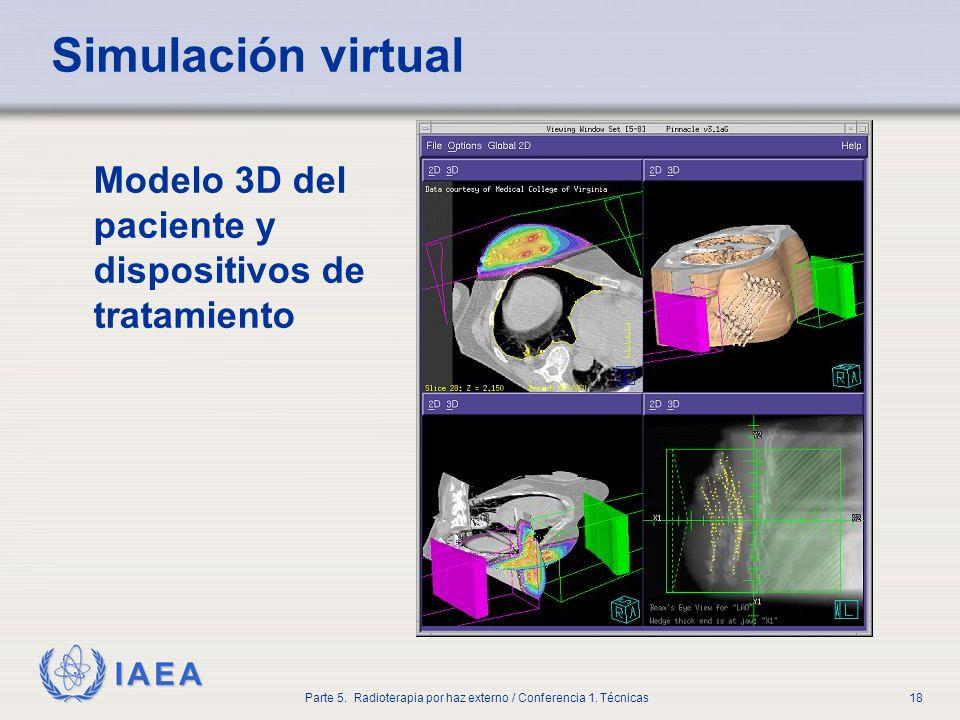 IAEA Parte 5. Radioterapia por haz externo / Conferencia 1. Técnicas18 Simulación virtual Modelo 3D del paciente y dispositivos de tratamiento