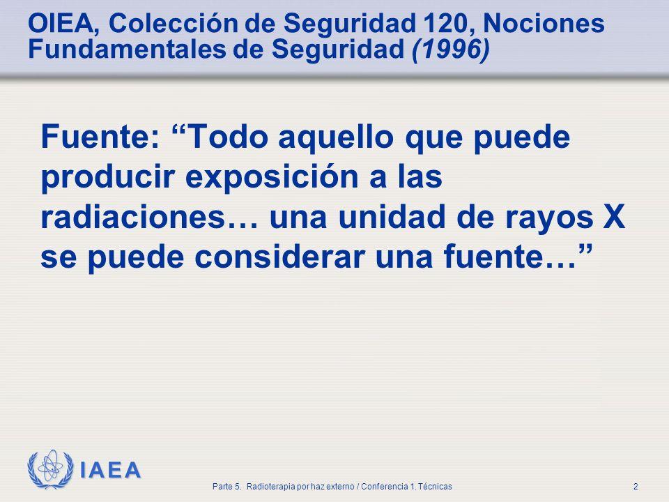 IAEA Parte 5. Radioterapia por haz externo / Conferencia 1. Técnicas2 OIEA, Colección de Seguridad 120, Nociones Fundamentales de Seguridad (1996) Fue