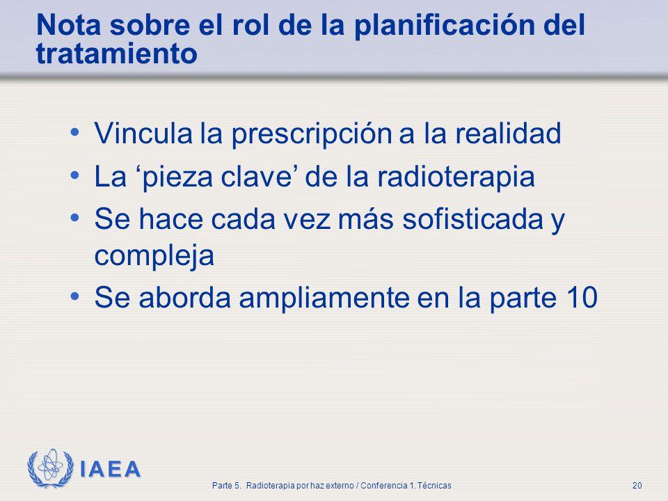 IAEA Parte 5. Radioterapia por haz externo / Conferencia 1. Técnicas20 Nota sobre el rol de la planificación del tratamiento Vincula la prescripción a