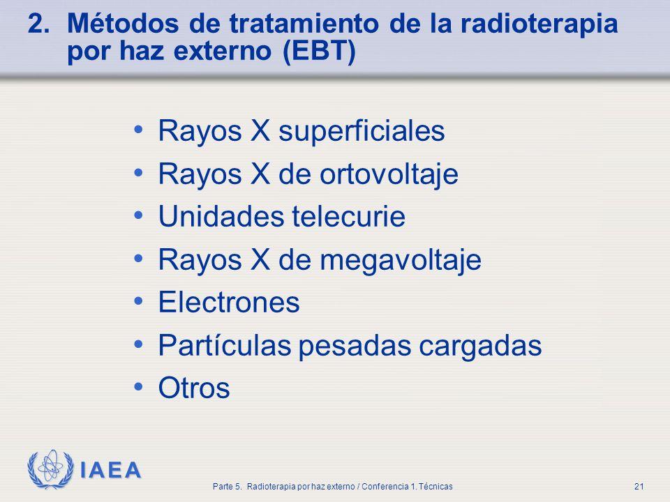 IAEA Parte 5. Radioterapia por haz externo / Conferencia 1. Técnicas21 2. Métodos de tratamiento de la radioterapia por haz externo (EBT) Rayos X supe