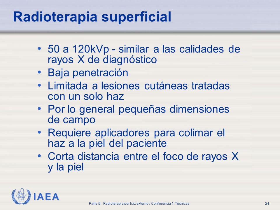 IAEA Parte 5. Radioterapia por haz externo / Conferencia 1. Técnicas24 Radioterapia superficial 50 a 120kVp - similar a las calidades de rayos X de di