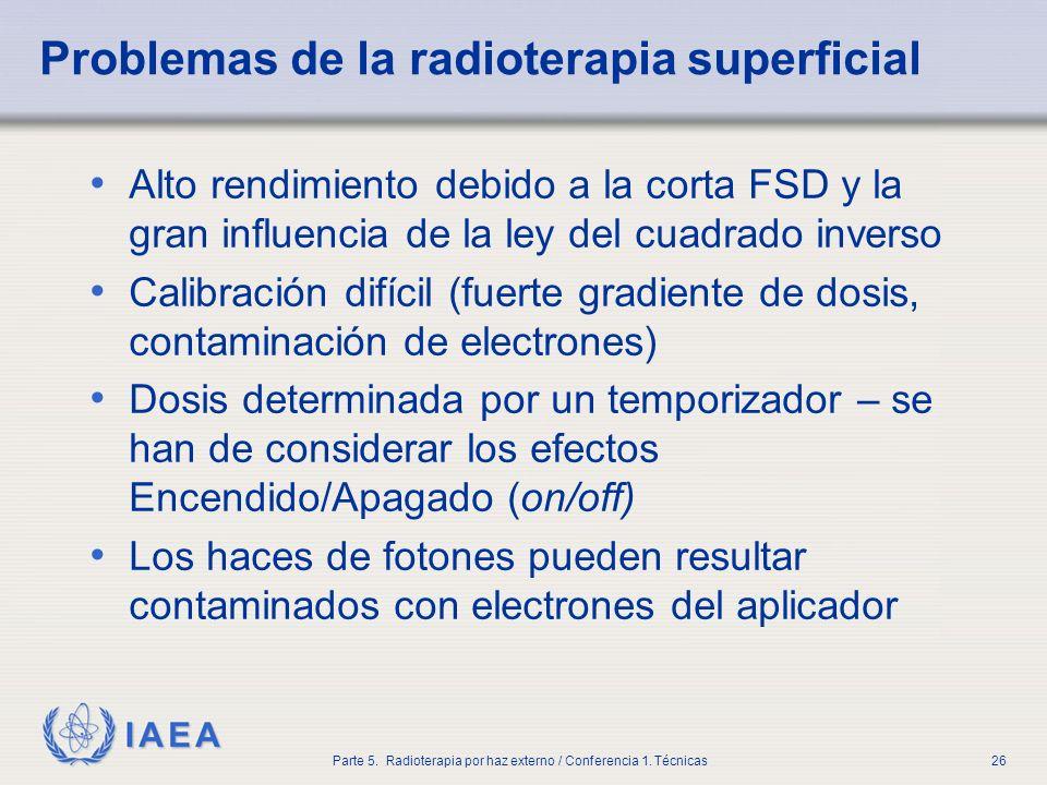 IAEA Parte 5. Radioterapia por haz externo / Conferencia 1. Técnicas26 Problemas de la radioterapia superficial Alto rendimiento debido a la corta FSD