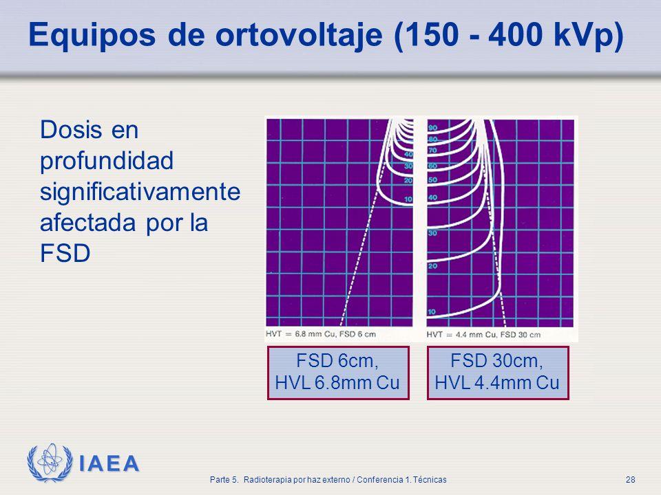 IAEA Parte 5. Radioterapia por haz externo / Conferencia 1. Técnicas28 Equipos de ortovoltaje (150 - 400 kVp) Dosis en profundidad significativamente