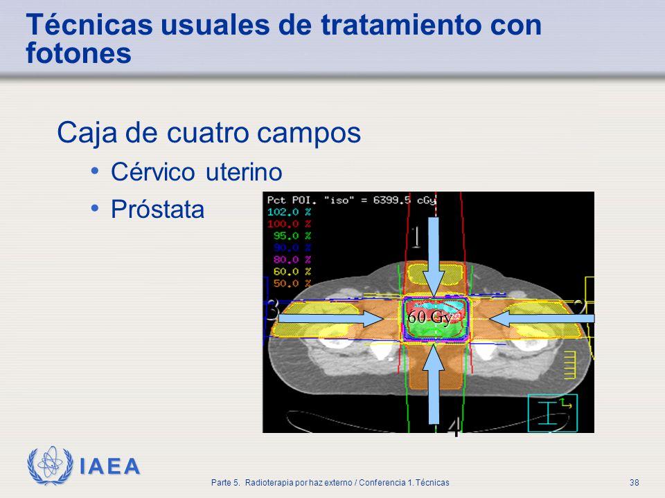 IAEA Parte 5. Radioterapia por haz externo / Conferencia 1. Técnicas38 Técnicas usuales de tratamiento con fotones Caja de cuatro campos Cérvico uteri