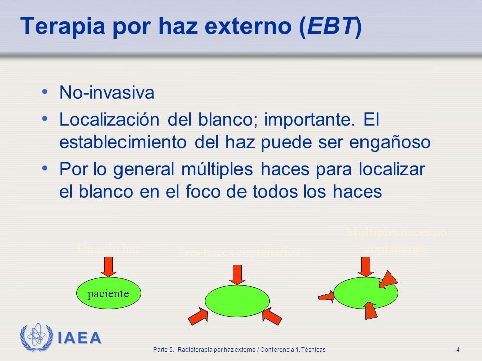 IAEA Parte 5. Radioterapia por haz externo / Conferencia 1. Técnicas4 Terapia por haz externo (EBT) No-invasiva Localización del blanco; importante. E