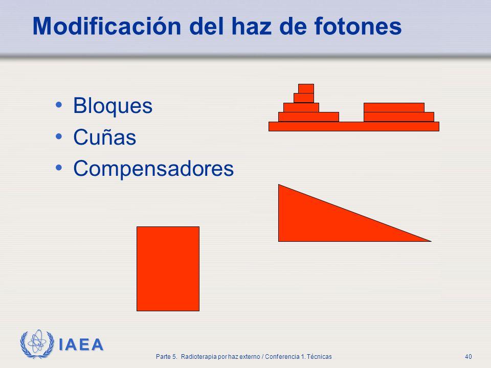 IAEA Parte 5. Radioterapia por haz externo / Conferencia 1. Técnicas40 Modificación del haz de fotones Bloques Cuñas Compensadores