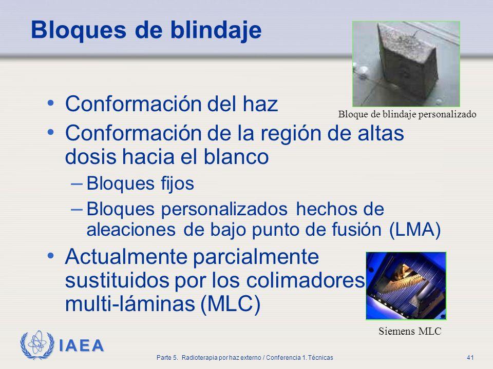 IAEA Parte 5. Radioterapia por haz externo / Conferencia 1. Técnicas41 Bloques de blindaje Conformación del haz Conformación de la región de altas dos