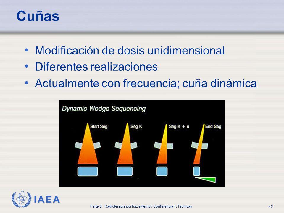 IAEA Parte 5. Radioterapia por haz externo / Conferencia 1. Técnicas43 Cuñas Modificación de dosis unidimensional Diferentes realizaciones Actualmente
