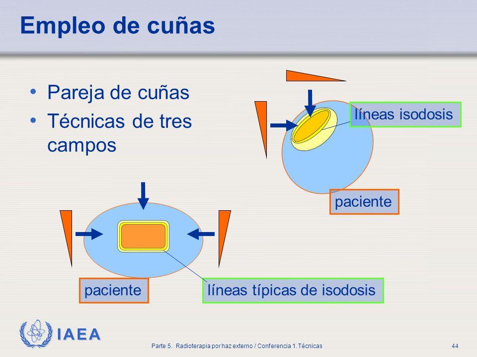 IAEA Parte 5. Radioterapia por haz externo / Conferencia 1. Técnicas44 Empleo de cuñas Pareja de cuñas Técnicas de tres campos pacientelíneas típicas