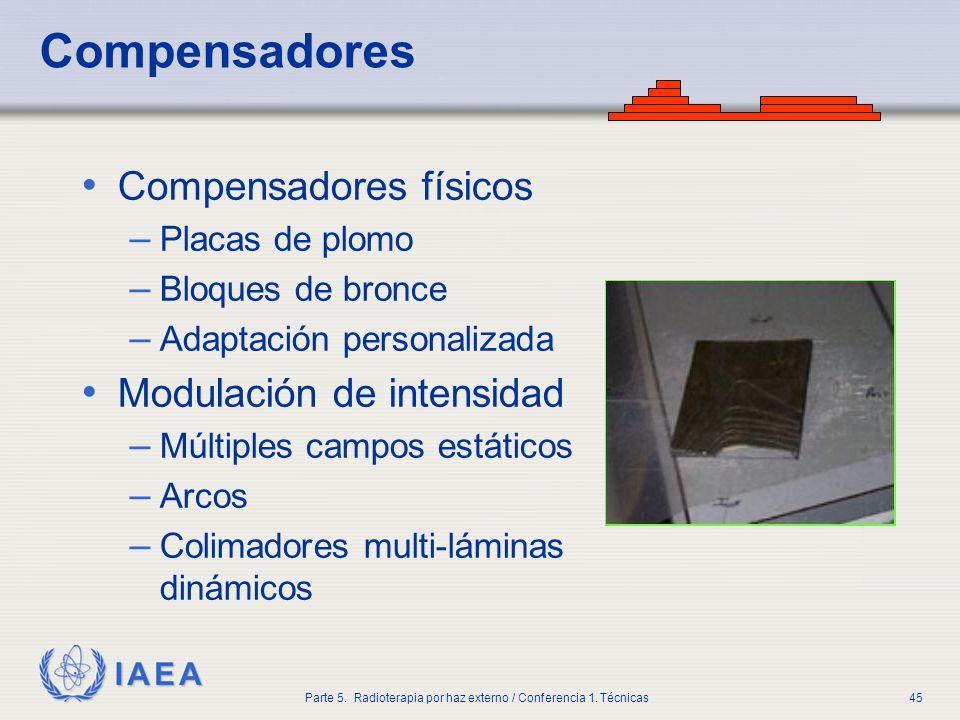 IAEA Parte 5. Radioterapia por haz externo / Conferencia 1. Técnicas45 Compensadores Compensadores físicos – Placas de plomo – Bloques de bronce – Ada