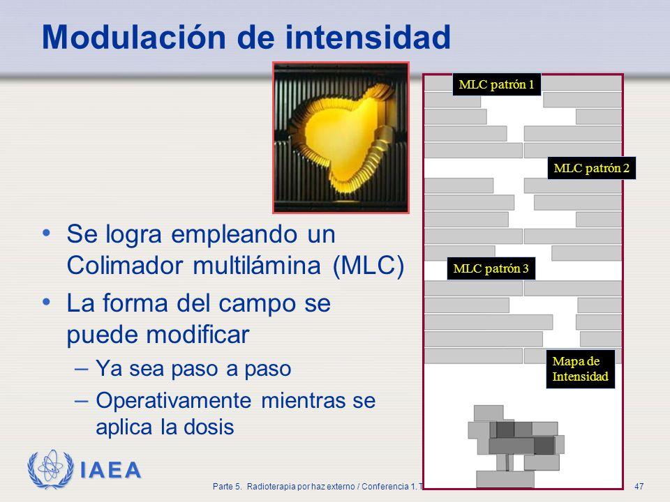 IAEA Parte 5. Radioterapia por haz externo / Conferencia 1. Técnicas47 Modulación de intensidad Se logra empleando un Colimador multilámina (MLC) La f