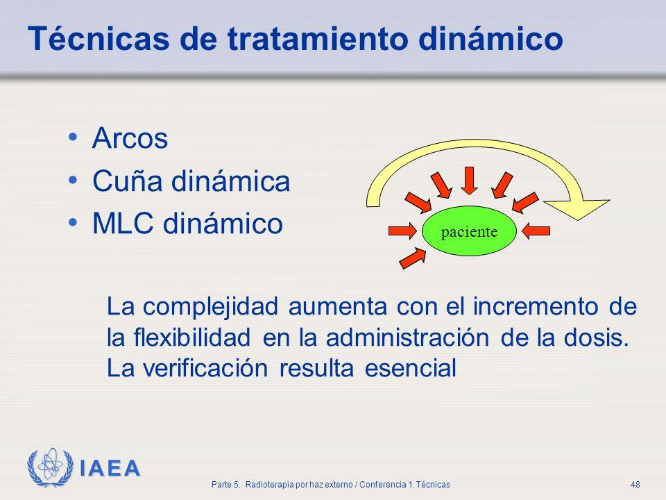 IAEA Parte 5. Radioterapia por haz externo / Conferencia 1. Técnicas48 Técnicas de tratamiento dinámico Arcos Cuña dinámica MLC dinámico La complejida
