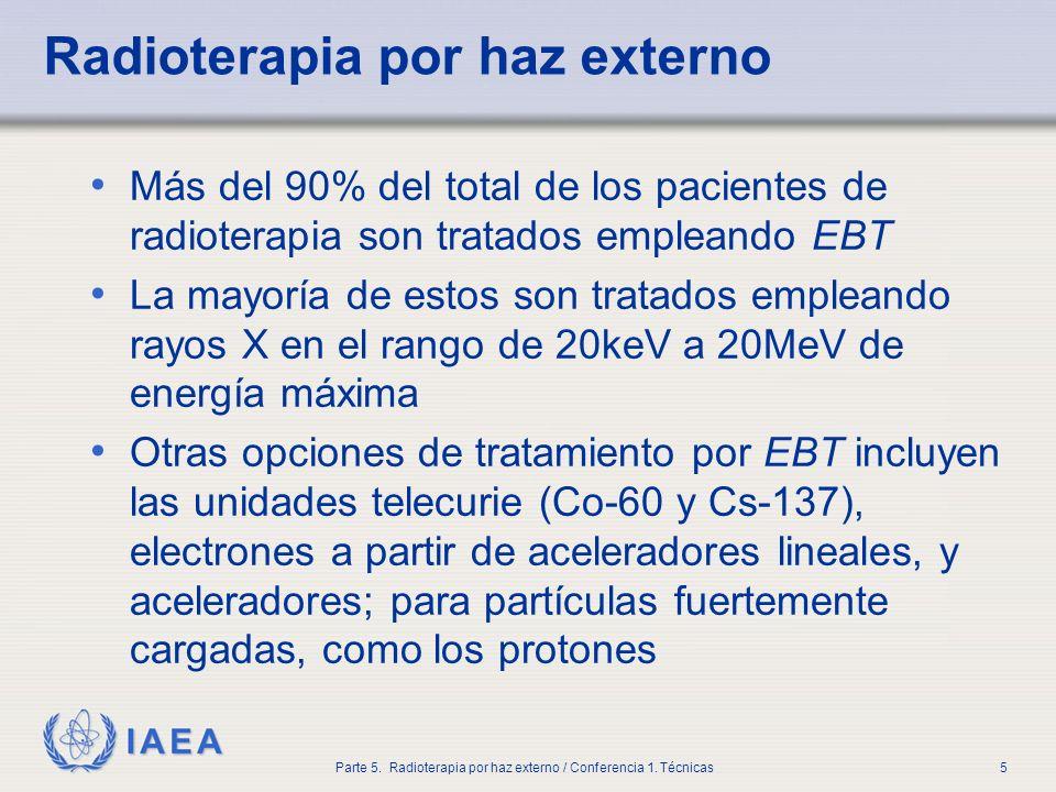 IAEA Parte 5. Radioterapia por haz externo / Conferencia 1. Técnicas5 Radioterapia por haz externo Más del 90% del total de los pacientes de radiotera