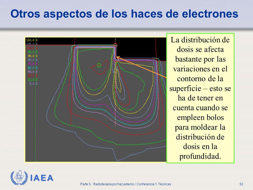 IAEA Parte 5. Radioterapia por haz externo / Conferencia 1. Técnicas52 Otros aspectos de los haces de electrones La distribución de dosis se afecta ba