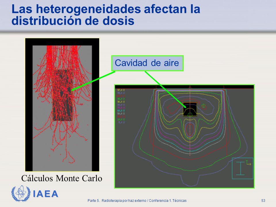 IAEA Parte 5. Radioterapia por haz externo / Conferencia 1. Técnicas53 Las heterogeneidades afectan la distribución de dosis Cavidad de aire Cálculos