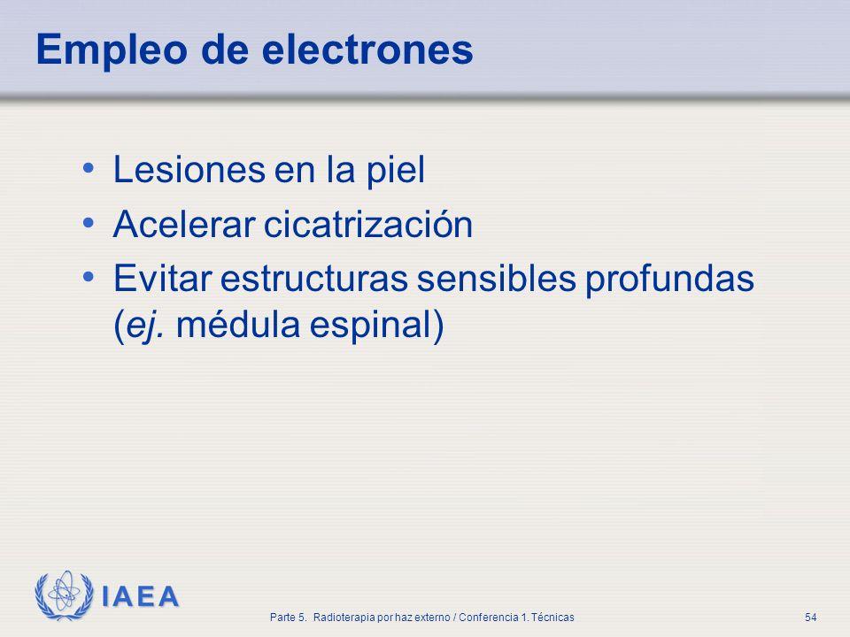 IAEA Parte 5. Radioterapia por haz externo / Conferencia 1. Técnicas54 Empleo de electrones Lesiones en la piel Acelerar cicatrización Evitar estructu