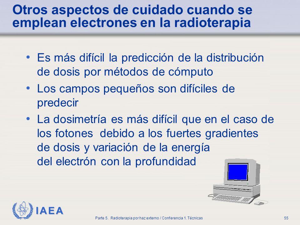 IAEA Parte 5. Radioterapia por haz externo / Conferencia 1. Técnicas55 Otros aspectos de cuidado cuando se emplean electrones en la radioterapia Es má