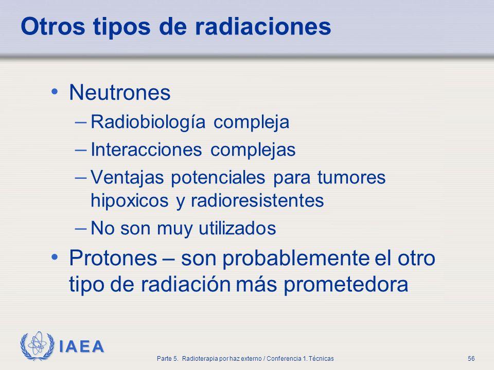 IAEA Parte 5. Radioterapia por haz externo / Conferencia 1. Técnicas56 Otros tipos de radiaciones Neutrones – Radiobiología compleja – Interacciones c