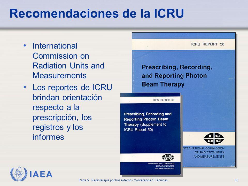 IAEA Parte 5. Radioterapia por haz externo / Conferencia 1. Técnicas63 Recomendaciones de la ICRU International Commission on Radiation Units and Meas