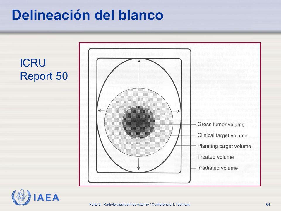 IAEA Parte 5. Radioterapia por haz externo / Conferencia 1. Técnicas64 Delineación del blanco ICRU Report 50
