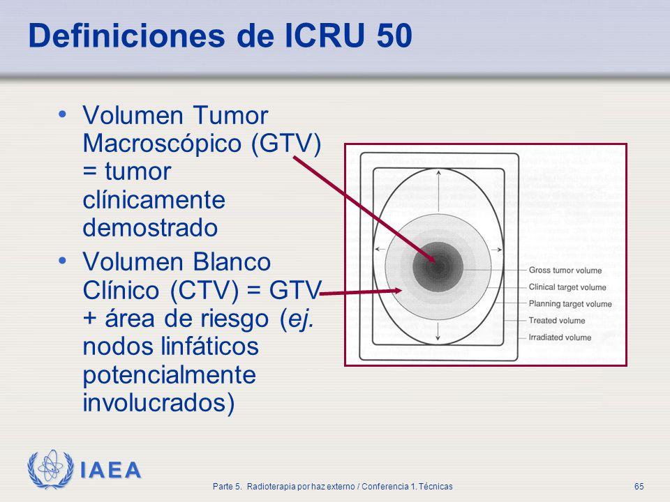 IAEA Parte 5. Radioterapia por haz externo / Conferencia 1. Técnicas65 Definiciones de ICRU 50 Volumen Tumor Macroscópico (GTV) = tumor clínicamente d