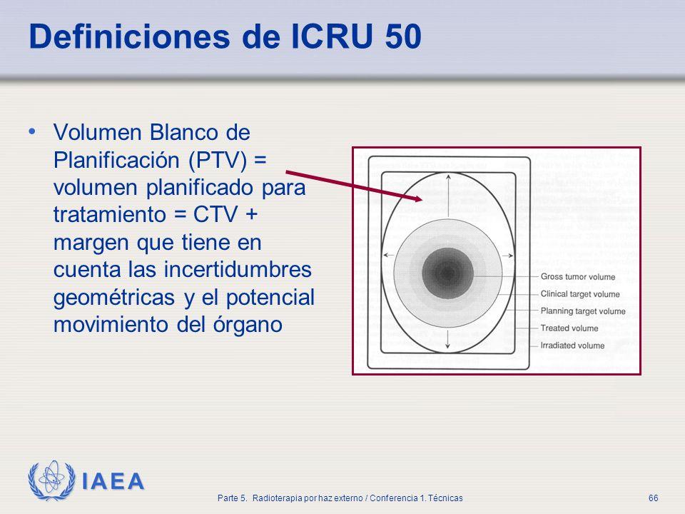 IAEA Parte 5. Radioterapia por haz externo / Conferencia 1. Técnicas66 Definiciones de ICRU 50 Volumen Blanco de Planificación (PTV) = volumen planifi