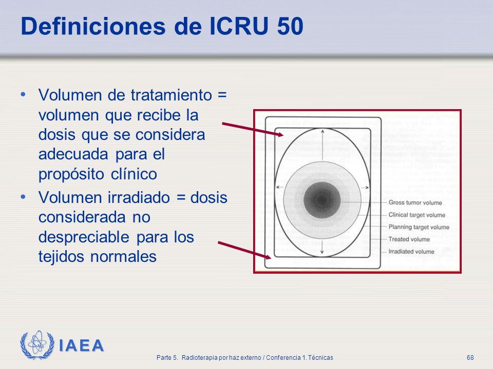 IAEA Parte 5. Radioterapia por haz externo / Conferencia 1. Técnicas68 Definiciones de ICRU 50 Volumen de tratamiento = volumen que recibe la dosis qu