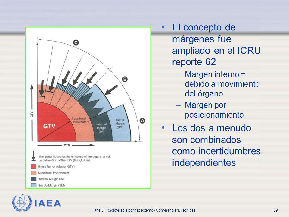 IAEA Parte 5. Radioterapia por haz externo / Conferencia 1. Técnicas69 El concepto de márgenes fue ampliado en el ICRU reporte 62 – Margen interno = d