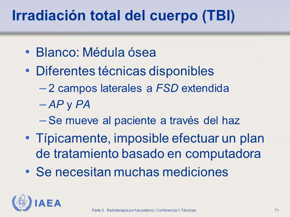 IAEA Parte 5. Radioterapia por haz externo / Conferencia 1. Técnicas71 Irradiación total del cuerpo (TBI) Blanco: Médula ósea Diferentes técnicas disp