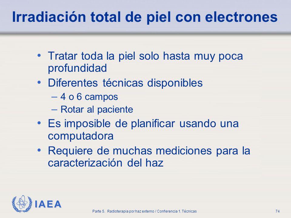 IAEA Parte 5. Radioterapia por haz externo / Conferencia 1. Técnicas74 Irradiación total de piel con electrones Tratar toda la piel solo hasta muy poc