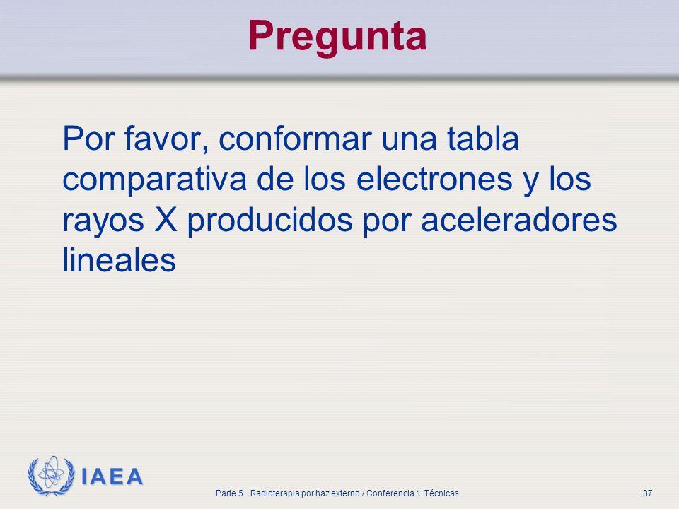 IAEA Parte 5. Radioterapia por haz externo / Conferencia 1. Técnicas87 Pregunta Por favor, conformar una tabla comparativa de los electrones y los ray