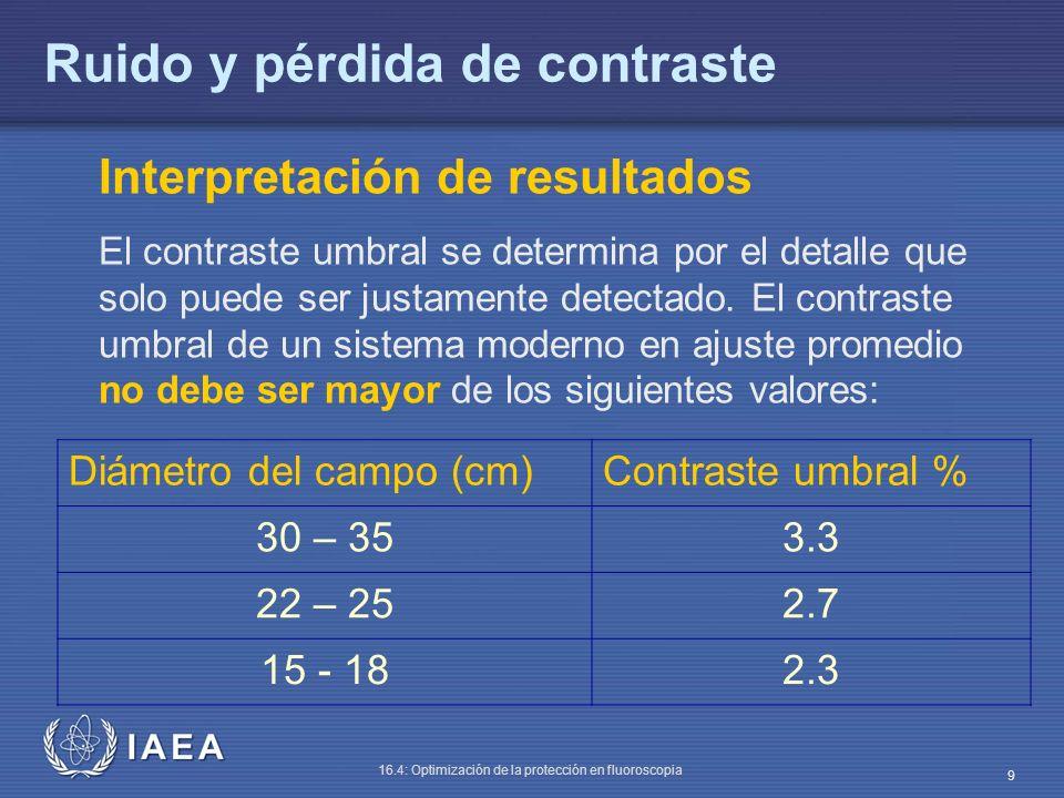 IAEA 16.4: Optimización de la protección en fluoroscopia 9 Ruido y pérdida de contraste Interpretación de resultados El contraste umbral se determina