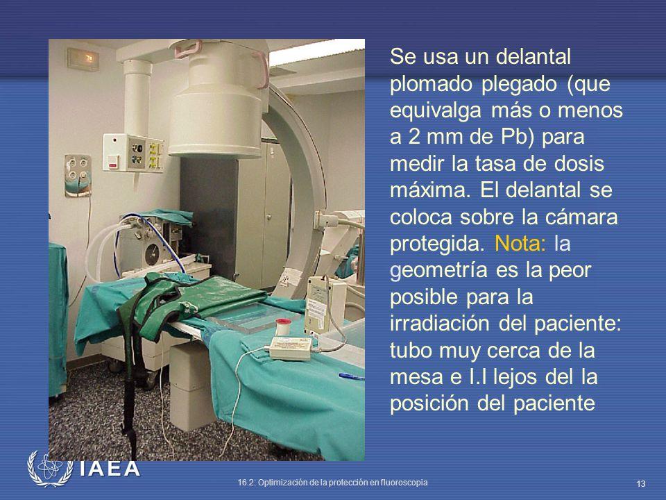 IAEA 16.2: Optimización de la protección en fluoroscopia 13 Se usa un delantal plomado plegado (que equivalga más o menos a 2 mm de Pb) para medir la