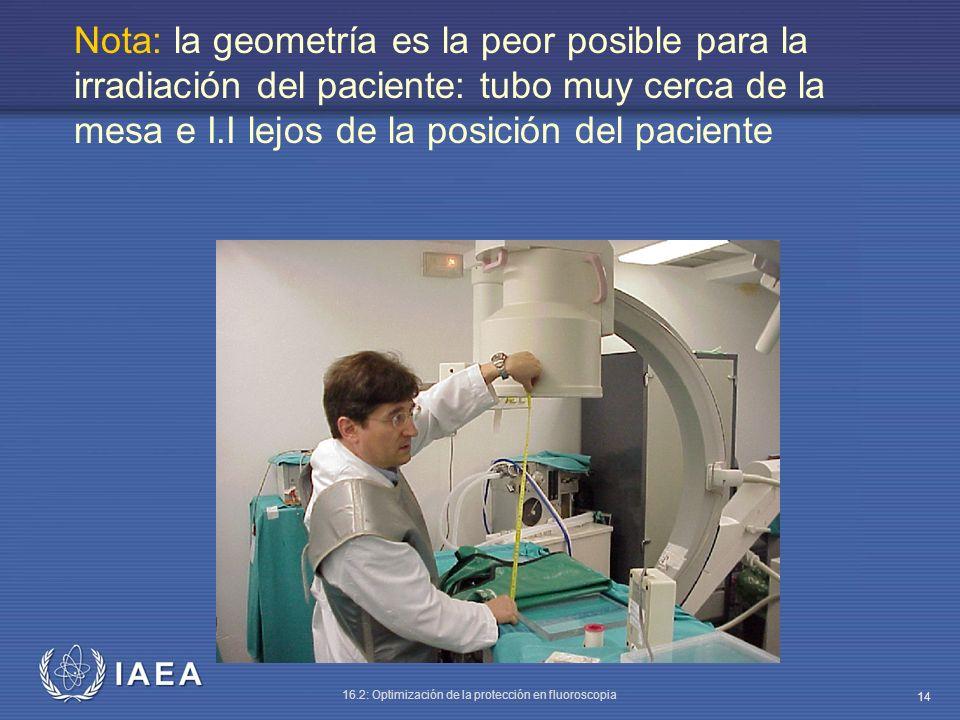 IAEA 16.2: Optimización de la protección en fluoroscopia 14 Nota: la geometría es la peor posible para la irradiación del paciente: tubo muy cerca de