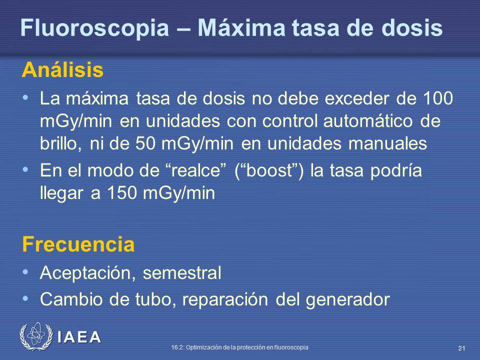IAEA 16.2: Optimización de la protección en fluoroscopia 21 Fluoroscopia – Máxima tasa de dosis Análisis La máxima tasa de dosis no debe exceder de 10