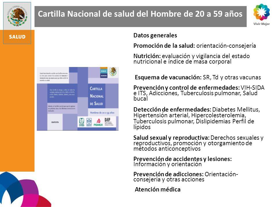 Cartilla Nacional de salud del Hombre de 20 a 59 años Datos generales Promoción de la salud: orientación-consejería Nutrición: evaluación y vigilancia