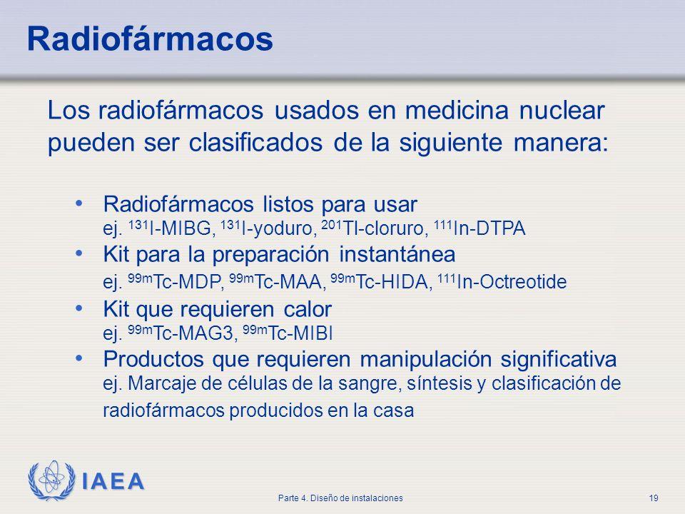 IAEA Parte 4. Diseño de instalaciones19 Radiofármacos Los radiofármacos usados en medicina nuclear pueden ser clasificados de la siguiente manera: Rad