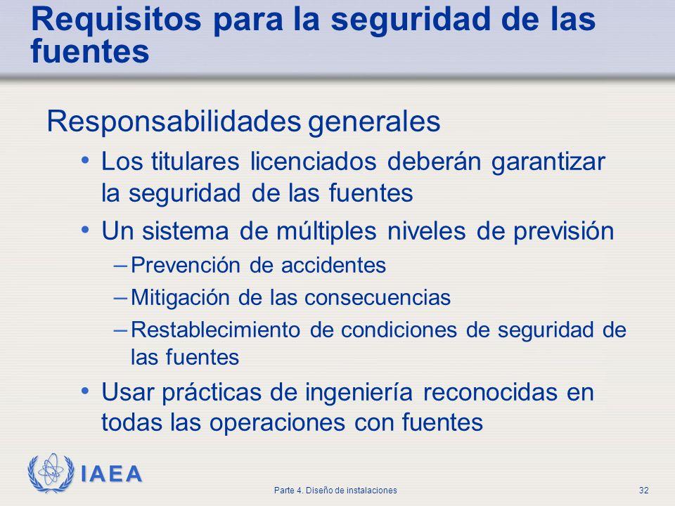 IAEA Parte 4. Diseño de instalaciones32 Requisitos para la seguridad de las fuentes Responsabilidades generales Los titulares licenciados deberán gara